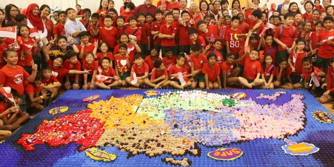 Largest Singapore Map Made Of Egg Cartons