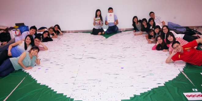 Largest Heart Formation Made Of Message Cards