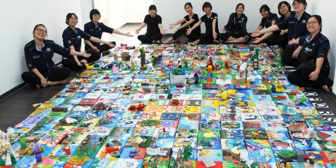 largest art montage made of recycled materials singapore book of