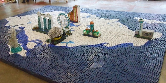 Largest Singapore Map Made Of Bottle Caps