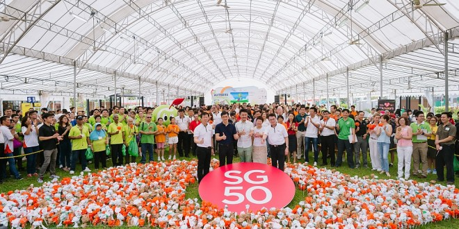 Largest Singapore Map Made Of Plastic Bags Flowers