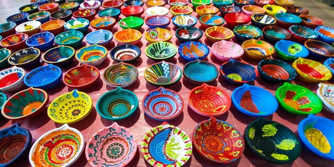 Largest Display Of Handpainted Clay Lamps