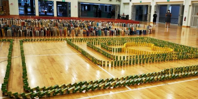 Largest Domino Toppling Of Books, Tetra Pak Drinks & Biscuit Boxes